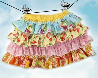 PDF Sewing Pattern - less Tutorial 4-row ruffles Ruffled Up Skirt sizes 6m through 16 Girls Instant