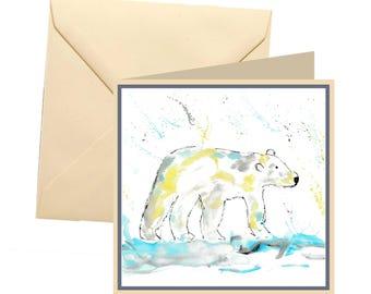 Polar bear greetings card, blank card, greetings card, birthday card, note card, thank you card, polar bear thank you card, polar bear card