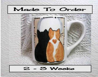 Made To Order Love Cats 12 Oz. Ceramic  Handpainted by Grace M. Smith