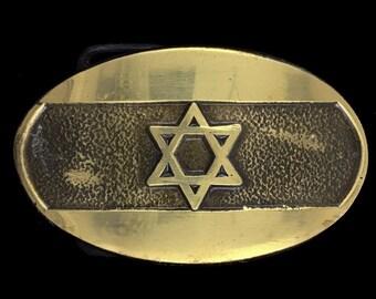 Vintage The Star Of David Judaica Judaism Jewish Hebrew Israel Religious Solid Brass Belt Buckle