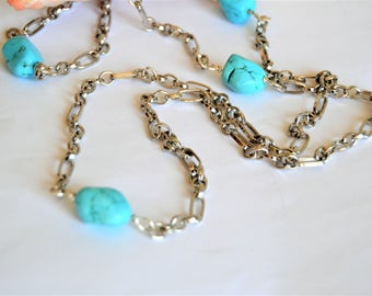 """TURQUOISE NUGGET 44"""" Long Necklace Silver Metal Chain"""