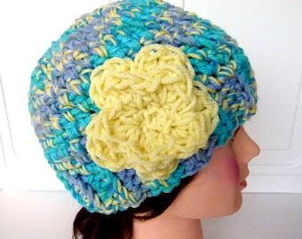Crochet Beanie, Ready to Ship, Size Teen to Adult, Winter Hat, Large flower