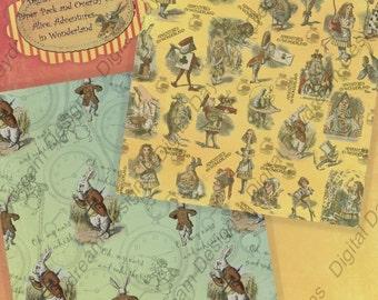Instant Download Digital Scrapbooking Paper Printable Alice In Wonderland Printables Overlay and Background Alice Paper Pack