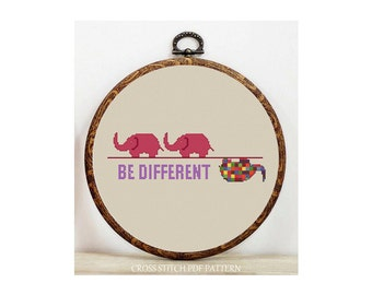 Different Elephant-Cross Stitch Pattern-Modern Sampler-Pdf-Instant Download