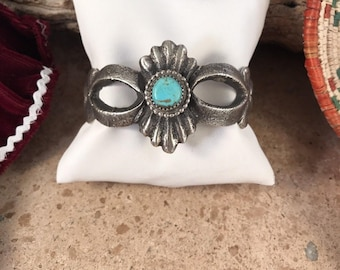 Navajo Turquoise Sand Cast Sterling Cuff By Stewart Billie