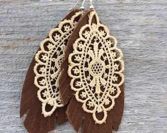 Leather and Lace Earrings by Stacy Leigh in Distressed Brown Leather and Antique Lace on Silver Hooks