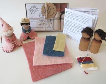 Peg Doll Royal Ladies Sewing Kit/Queen and Princess Waldorf Toy Kit