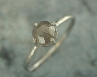 Rose Cut Diamond Ring White Gold Engagement Ring NSEW Compass Setting Grey Rose Cut Diamond Hammered Band Unique Diamond Ring Rustic Ring