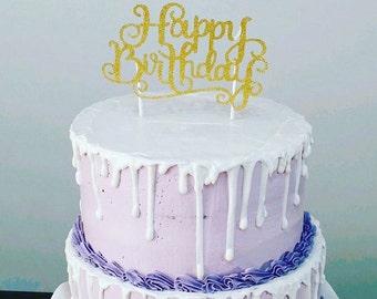 Cake Topper Birthday Cake Topper Happy Birthday Cake Topper Birthday Topper Cake Decoration Cake Decorating Glitter Gold Cake Topper