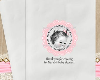 12 PAK Baby Girl Pink / Baby Shower Birthday Favor Bags / 5x7 / Candy Buffet / Gift Bags / Shabby Chic / Shabby / Pink Doilie  3 DayShip