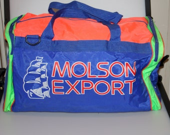 Molson Export Neon Greenwood Horse Racing Duffle Gym Bag Vintage 1990s