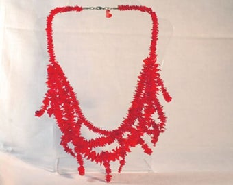 HIBISCUS necklace, recycled plastic, handmade