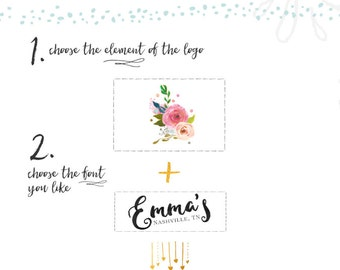 Custom Logo Design Watercolor Flower Gold Foil Logo Watercolor Floral Logo Photography Logo Business  Website Logo Blog Floral Gold Logo
