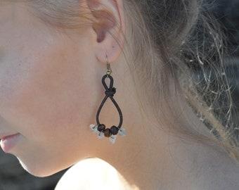 Boho Leather Gemstone Earrings