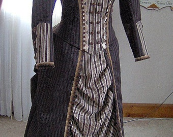 FOR ORDERS ONLY Custom Made - 1800s Victorian Dress - 1880s Bustle Gown Skirt Bodice - Reenactor Sass Old West Steampunk Gothic