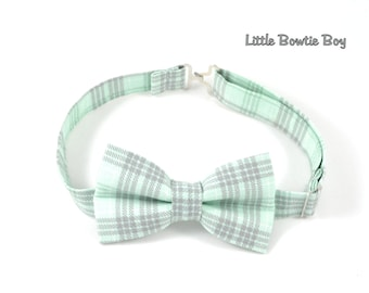 Mint and Grey Plaid bow tie, Gray plaid bow tie, Cotton bowtie for boys, adjustable pretied kids bowtie, metal hook adjustable bowtie