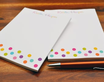 Personalized Notepads / Personalized Colorful Dots Notepads / Personalized Notebook / Personalized Note Pads/ Note pads /  Set of 2 Notepads