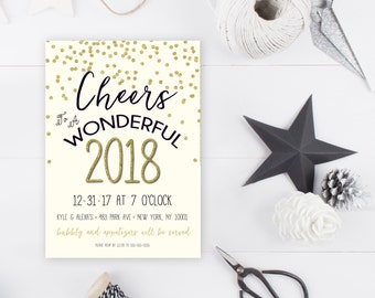 New Years Eve Party Invitation, New Years Party Invitation, 2017, Happy New Year, Printable New Years Party Invitation, New Years Eve [354]
