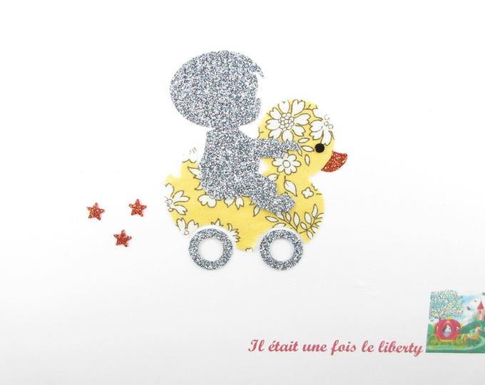 Applied fusing boy duck jouete fabric liberty Capel yellow flex glitter patch iron boy pattern patch iron on