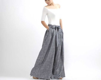 Linen pants, maxi palazzo pants, wide leg pants, gray pants, pleated pants, women linen pants, womens trousers with tie belt, handmade 308