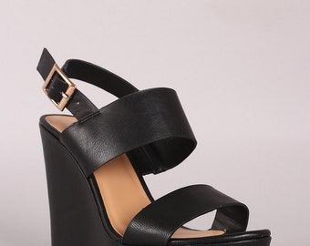 Vegan Leather Double Strap Slingback Platform Wedge