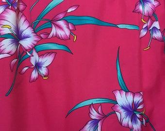 "Vintage tropical floral Hawaiian skirt, 70s 1970s midi skirt, hot pink fuchsia magenta, 80s 1980s midi, fuchsia floral skirt, S small XS 24"""