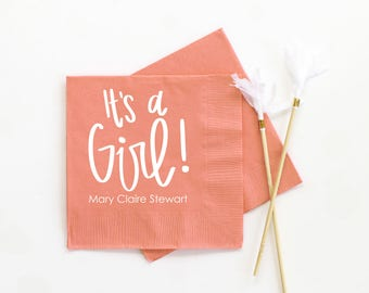 Girl Baby Shower Napkins Personalized Napkins Baby Shower Decorations for Girls Custom Beverage Napkins It's a Girl Gender Reveal Party