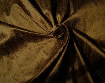 "Copper Brown 100% dupioni silk fabric yardage By the Yard 45"" wide"
