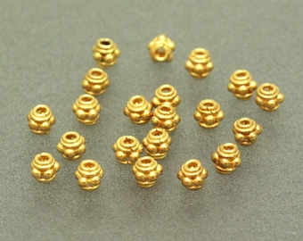 50 of Bali Vermeil Bead Spacer, 24K Gold Plated Sterling Silver, 4  mm, S5022-V