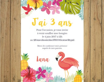 Tropical birthday invitation card