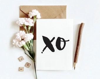 Typographic print, black and white | XO