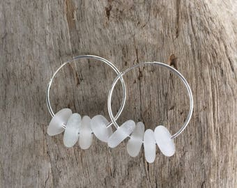 Genuine White Sea Glass Hoop Earrings Sterling Silver