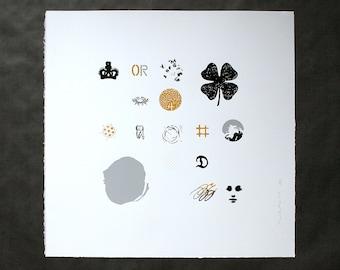 Found objects - Black/Grey/Yellow - Screenprint