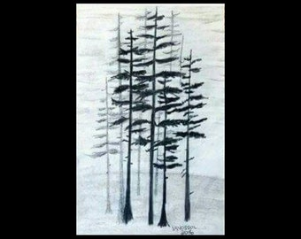 Minimalist Landscape FOGGY PINE TREES Minimal Forest Woods Sketched Graphite Art Print 11x17 Poster Of Original Ready To Frame