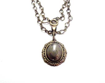 Genuine Gemstone Oxidized Brass Vintage Victorian Style Pendant Necklace - Pyrite