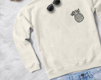 Pineapple sweatshirt gray crewneck jumper sweater fangirls fashion womens teens girls pocket shirt graphic cute sassy grunge lazy tops