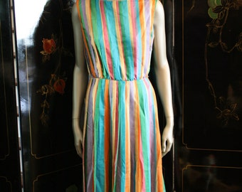 Rare Ribbon Dress Jerry Gilden New York Color Spectrum Silk S M Pinup Derby Bombshell 50s 60s Mid Century