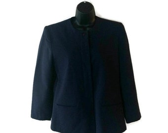Vintage 1990s Tailored Blue Prophecy Jacket Blazer Ladies Jacket Shoulder Pads Navy Dark Blue Size 10 Medium Large 100% Pure Wool