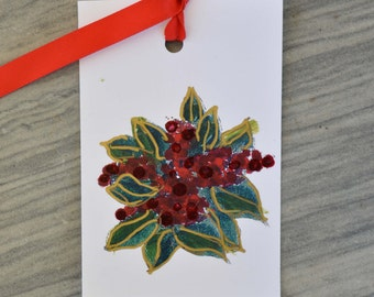 Christmas GIFT TAG--3 for 10 Magnolia Leaf art tag, hand-painted