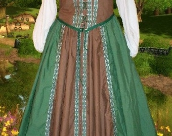 FREE SHIP Renaissance Medieval Gown SCA Garb Sherwood Forest 2pcCtn Lacing Bodice Drstr Skt lxl