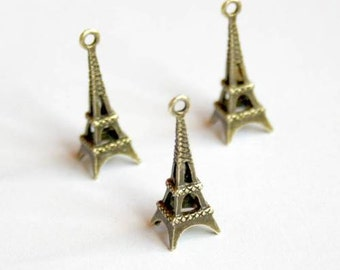 free shipping in UK - Pack of 10 – Antique Bronze Charm Eiffel Tower