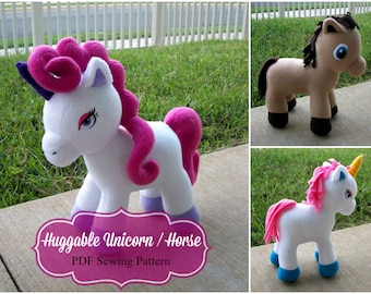 Huggable Unicorn and Horse Pattern - PDF Instant Download