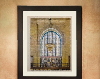 SALE--ships May 29-- New York City Library Reading Room Dictionary Art Print, Nyc Architecture Upcycled  Wall Art da66