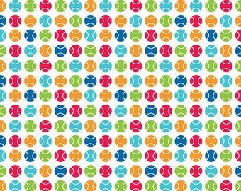 SALE Puppy Love Dots White - Riley Blake Designs - Balls Sports Games - Quilting Cotton Fabric - choose your cut