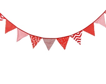 3.2M 12 Red flags Bunting Kid's Birthday Banner Party Decoration Bunting Photo Prop Cotton Fabric Garland Vintage Room Decor
