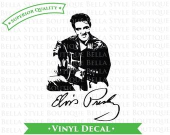Elvis Presley Guitar and Signature VINYL DECAL