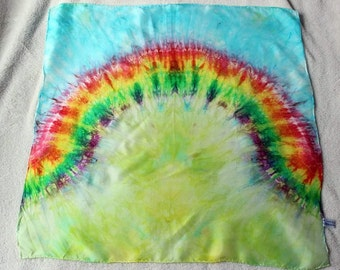 Rainbow Arch Spring Grass & Blue Sky Playsilk  ~ Hand Dyed ~ Waldorf Inspired!