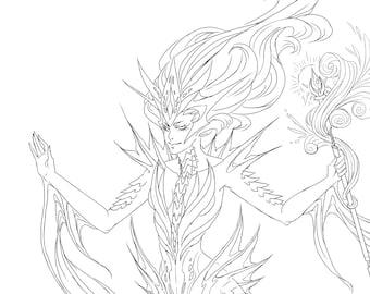 Fantasy Mermaid coloring page