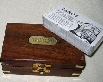 Tarot card game in a wooden box with brass inlay - very classy
