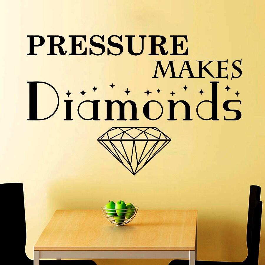 Wall Decals Quote Pressure Make Diamonds Decal Vinyl Sticker